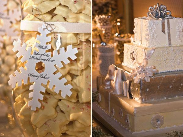 Snowflake shapes were a recutting wedding motif