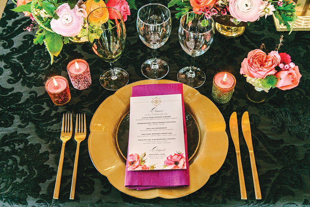 bold damask wedding tablescape