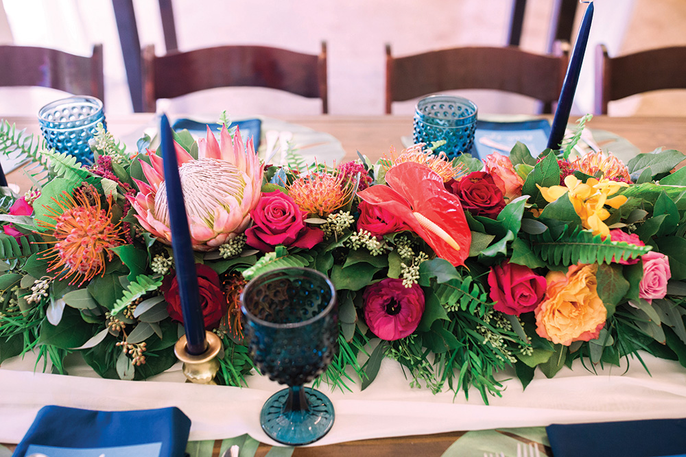 tropical boho wedding centerpiece
