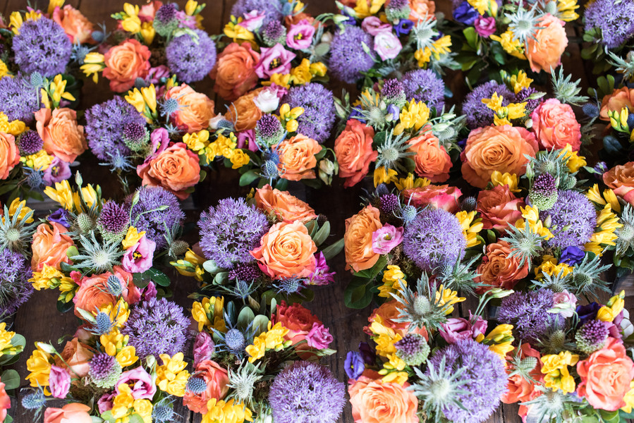 purple orange and yellow wedding flowers