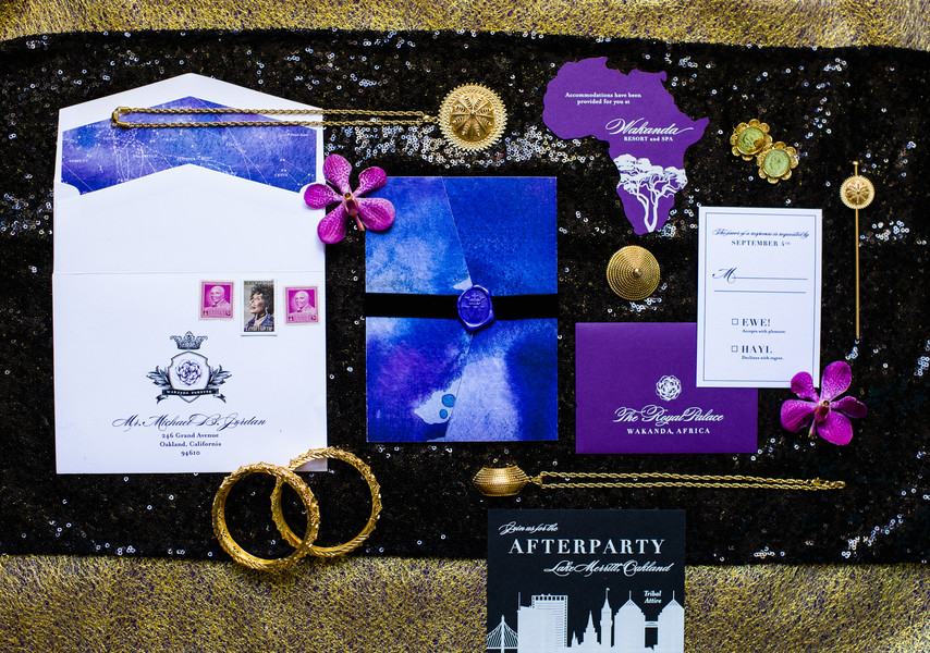 blue purple gold and black wedding color palette