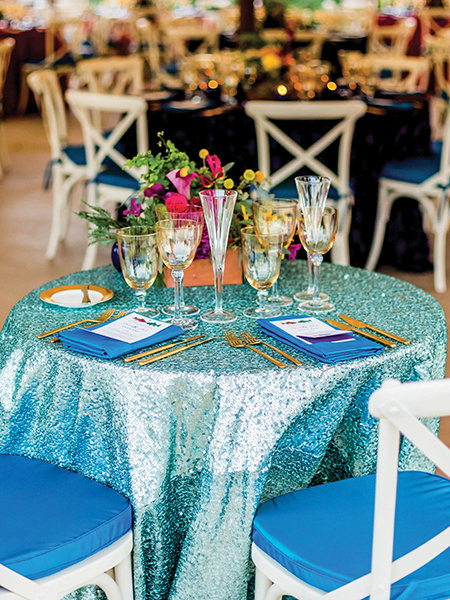 blue and gold wedding color palette