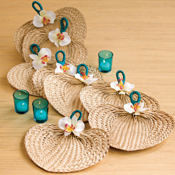 diy embellished raffia fan
