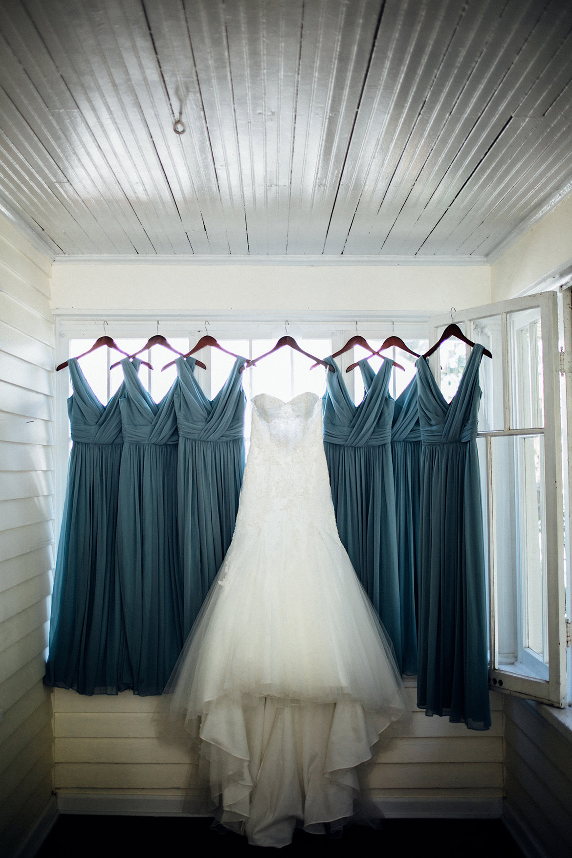 wedding dress with bridesmaid dresses