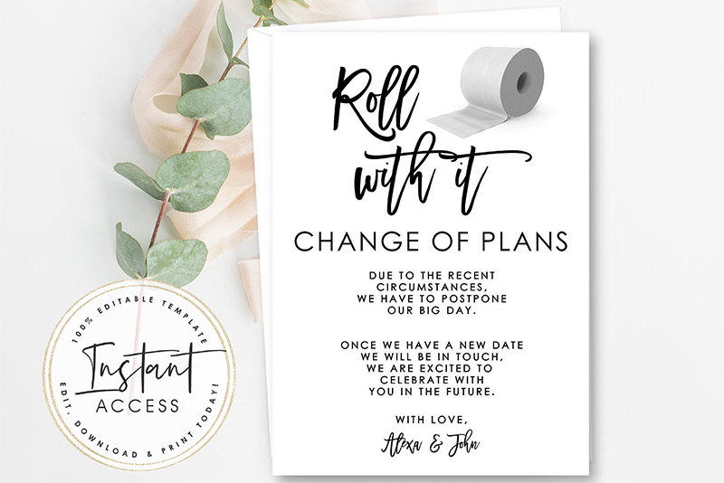 travel theme GLOBE DIY CHANGE THE DATE Cards destination wedding postpone