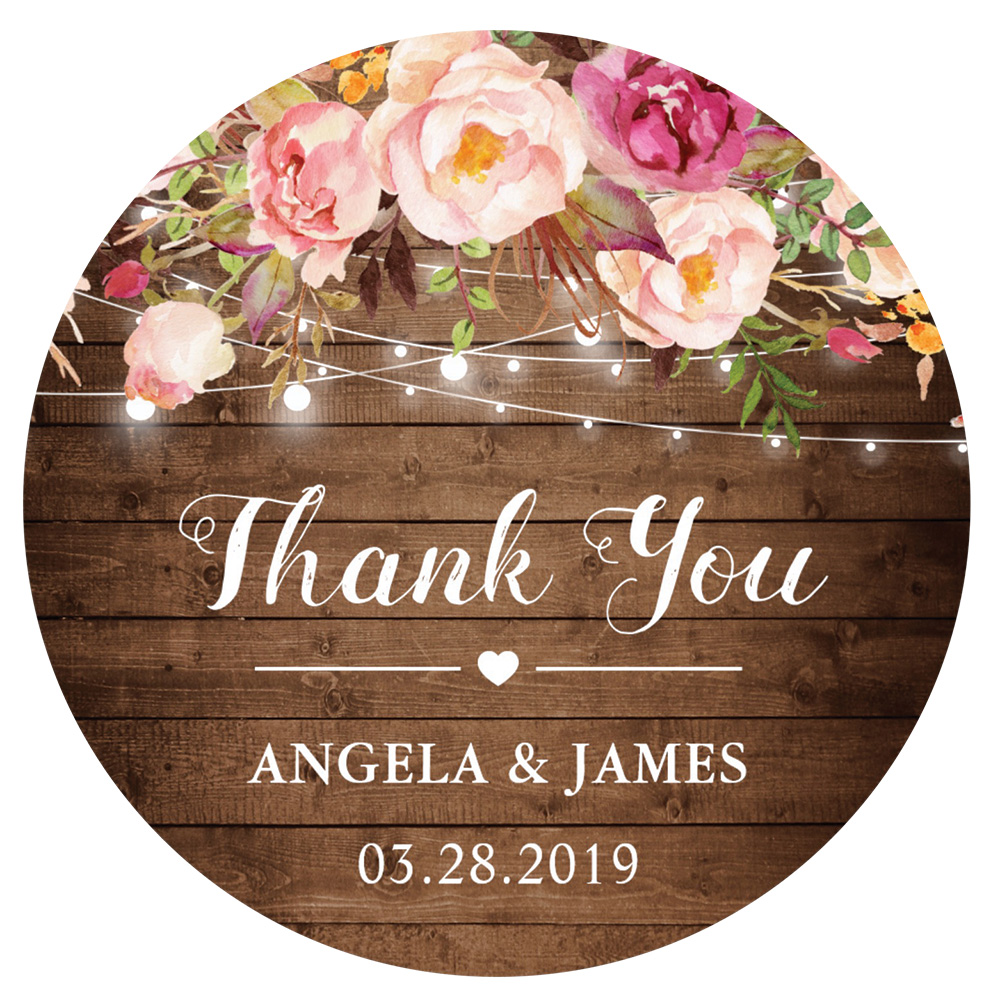 Zazzle rustic pink floral string lights thank you card