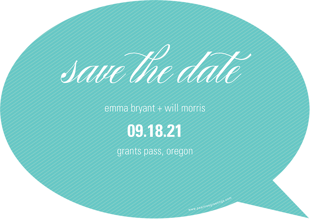 speech bubble save the date card