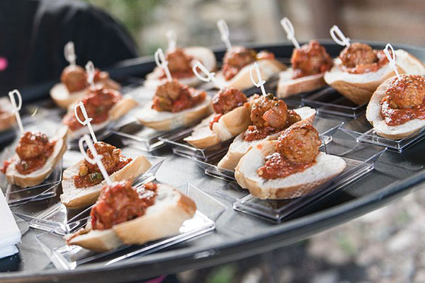 Mini meatball subs at wedding