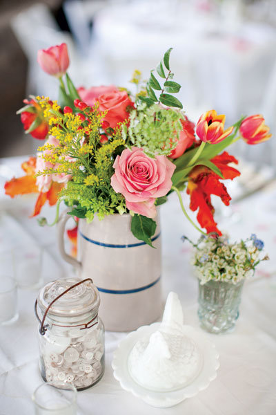 barn wedding centerpiece