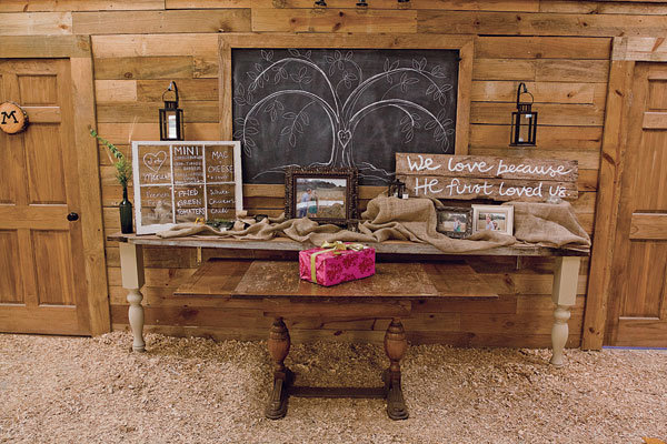 barn wedding gift table