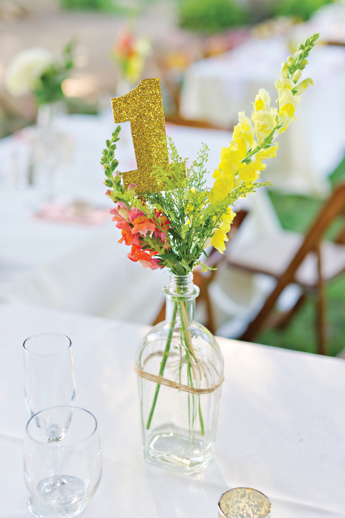 glittery table numbers