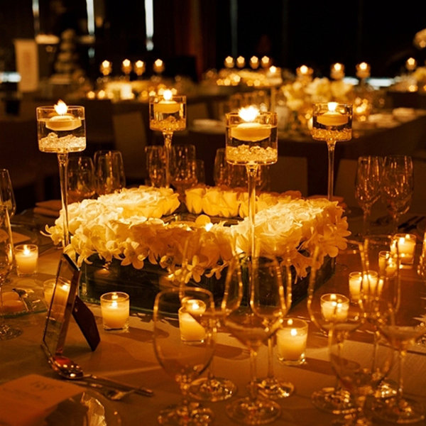 candles at wedding reception