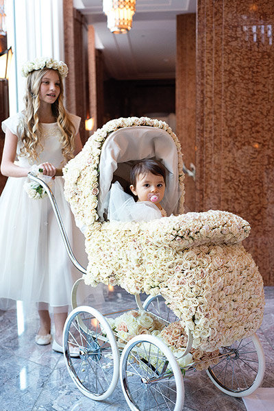 floral wedding carriage