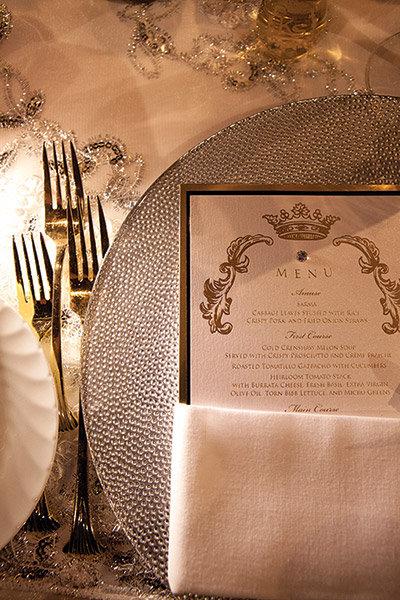 gold menu card