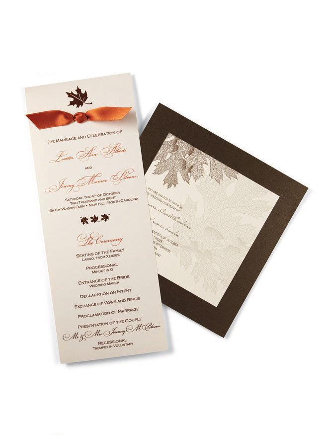 Wedding program with ribbon 235 for 100 unassembled