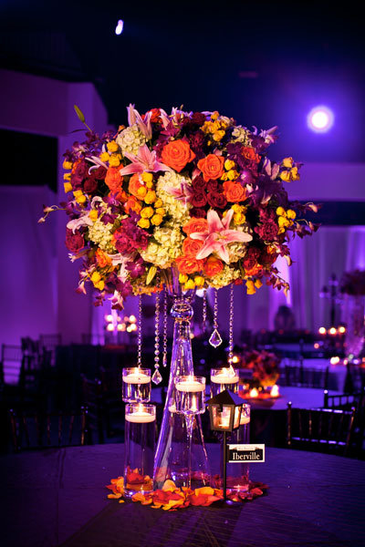 multi-color flower centerpiece