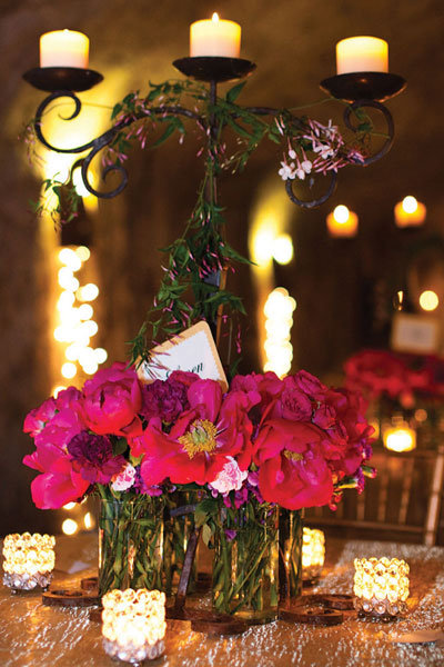 candles and flowers centerpiece