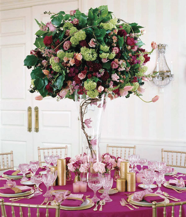 tall centerpieces wedding Types of Flowers Roses viburnum
