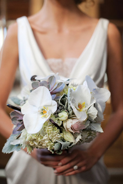 succulent and orchid bridal bouquet