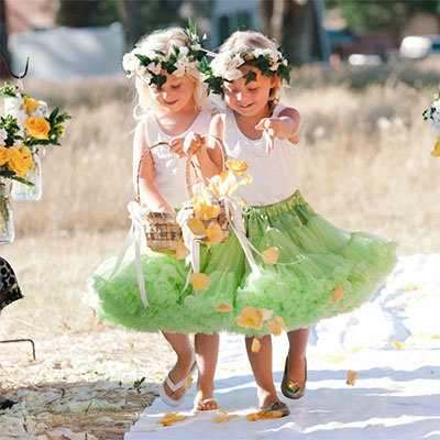 green flower girls