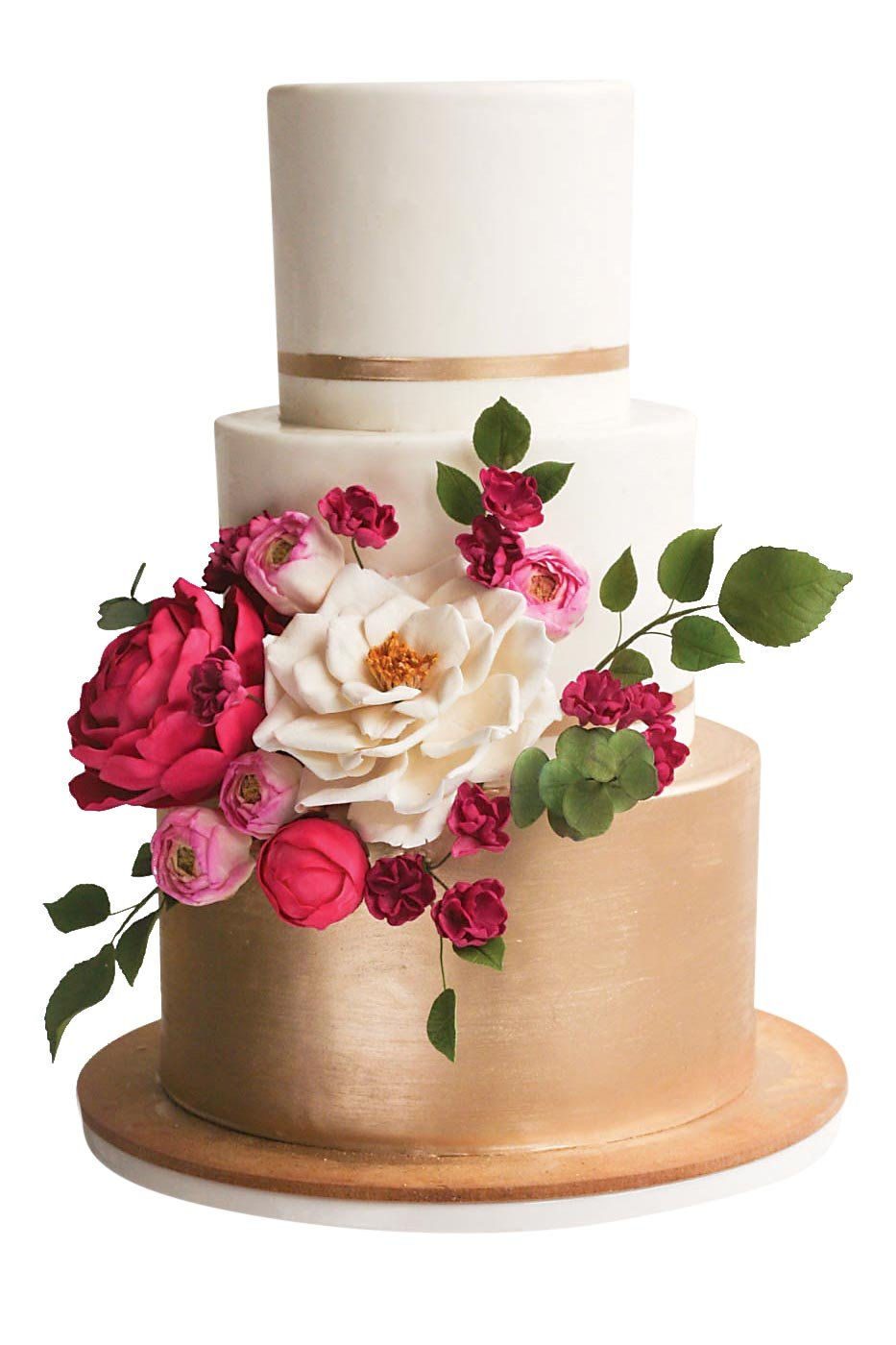 Red Gold And White Wedding Cakes