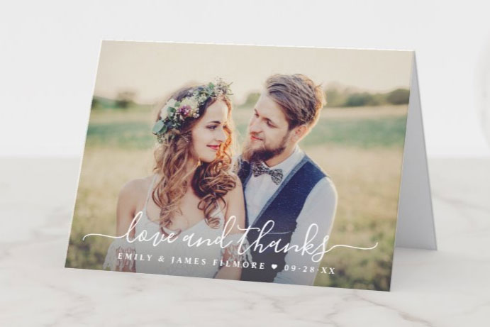 Zazzle wedding thank you card with photo