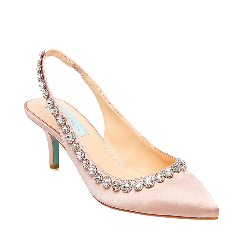 CICI nude satin mule shoe by Betsey Johnson Blue