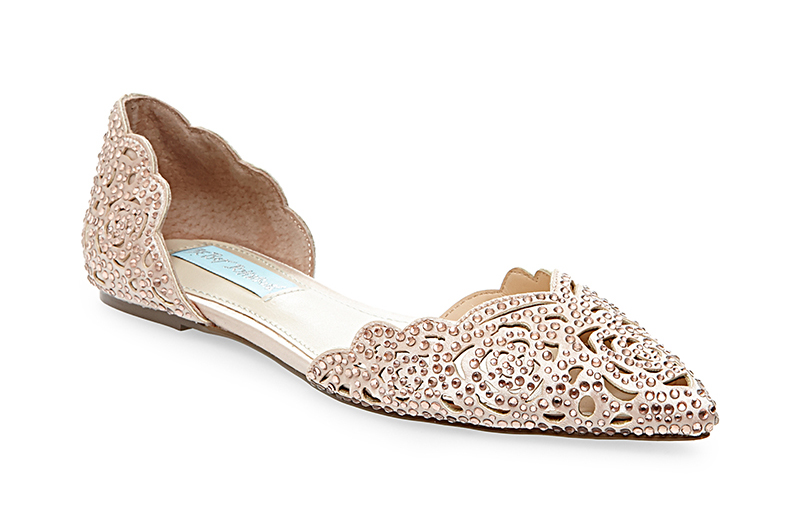 LUCY blush wedding flats by Betsey Johnson Blue