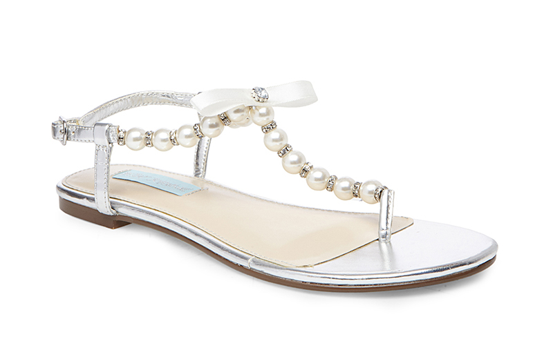 SB Pearl and silver flat wedding sandal by Betsey Johnson Blue
