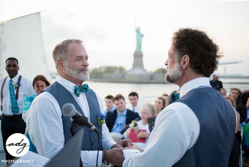 real wedding couple Jamie and Marshall for Elite Private Yachts