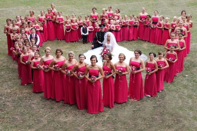 80 bridesmaids in wedding party