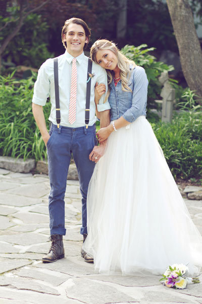 bride and groom wearing denim