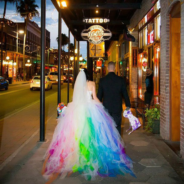 rainbow lisa frank inspired wedding dress