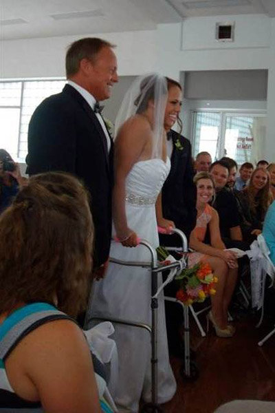 paralyzed bride walks down the aisle