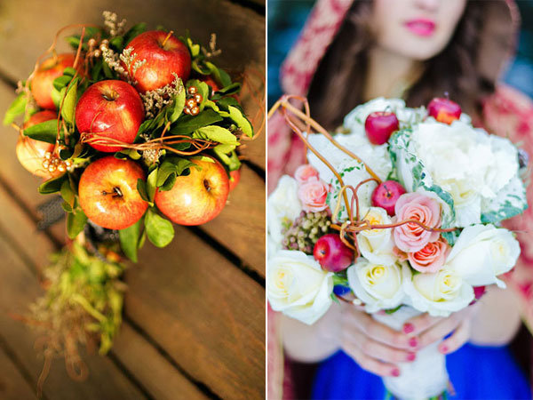 apple bouquets snow white wedding ideas