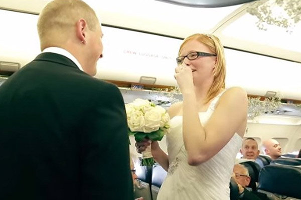 surprise airplane wedding