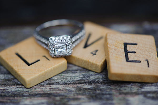 rings with love scrabble tiles
