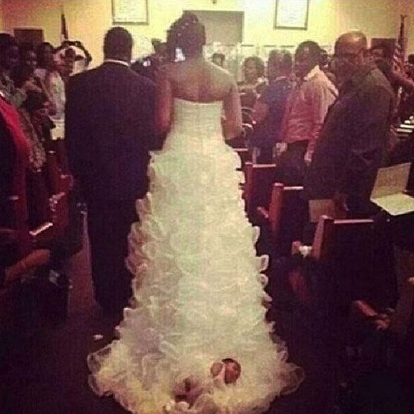 bride drags baby down the aisle