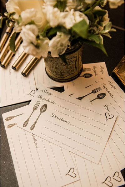 recipe card for bridal shower