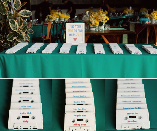 cassette tape escort cards
