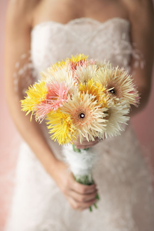 yellow daisy wedding bouquet