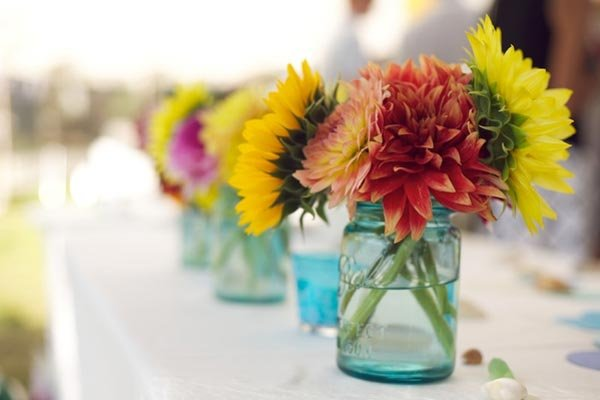 mason jar filled with flowers