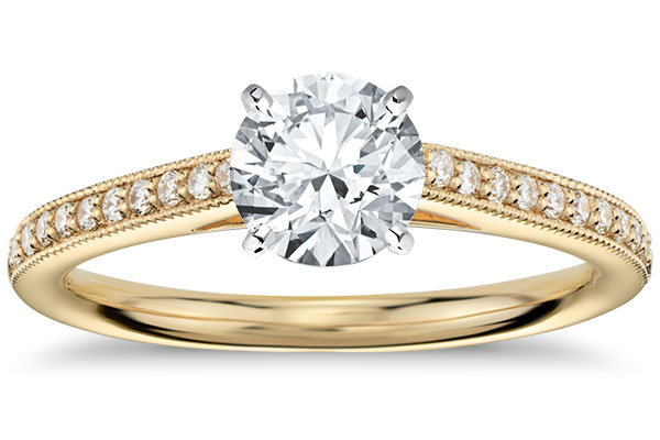 blue nile heirloom petite cathedral pave diamond engagement ring in 18k yellow gold