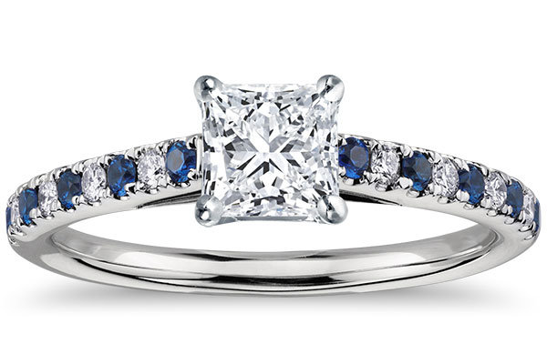 blue nile micropave sapphire and diamond petite cathedral engagement ring