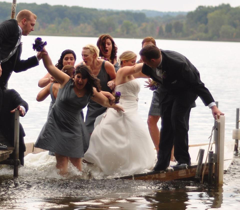 Lake Wedding Ideas: Bridal Party Falls In The Lake!