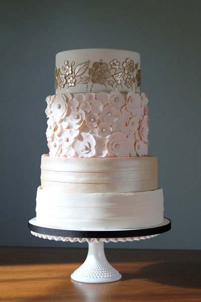 blush and champagne wedding cake