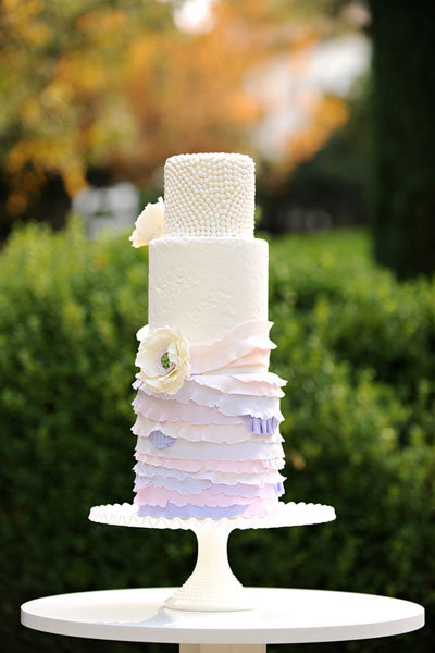 lavender ombre wedding cake with pearl detailing