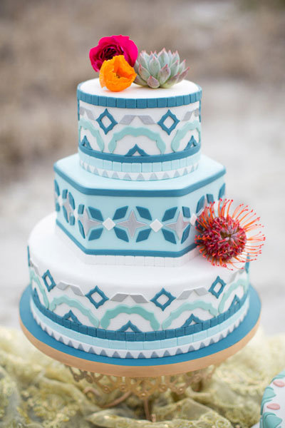 moraccan style wedding cake with mosaic design