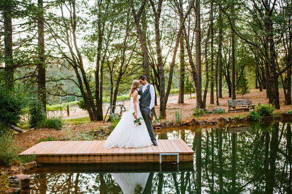 pretty lakeside wedding photo