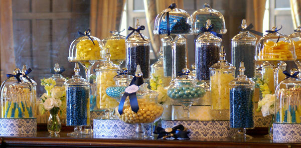 blue and yellow candy buffet